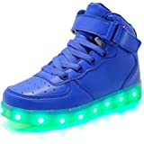 Licy Life-UK Unisex Niños Niñas Zapatos Zapatillas de LED 7 Colors USB Carga Hight-Top Luz Luminosas Flash Deporte para Deportivas para Navidad Fiesta de Regalo