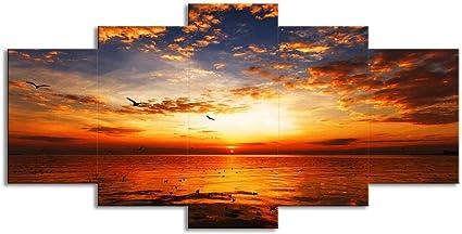 Swlyddm 5 Pezzi Stampa Su Tela Tramonto Bagliore Rosso Cielo Vista Sul Mare Arte Moderna Pittura A Olio Murales Decorazioni Per La Casa Soggiorno Pronto Da Appendere Amazon It Casa E Cucina