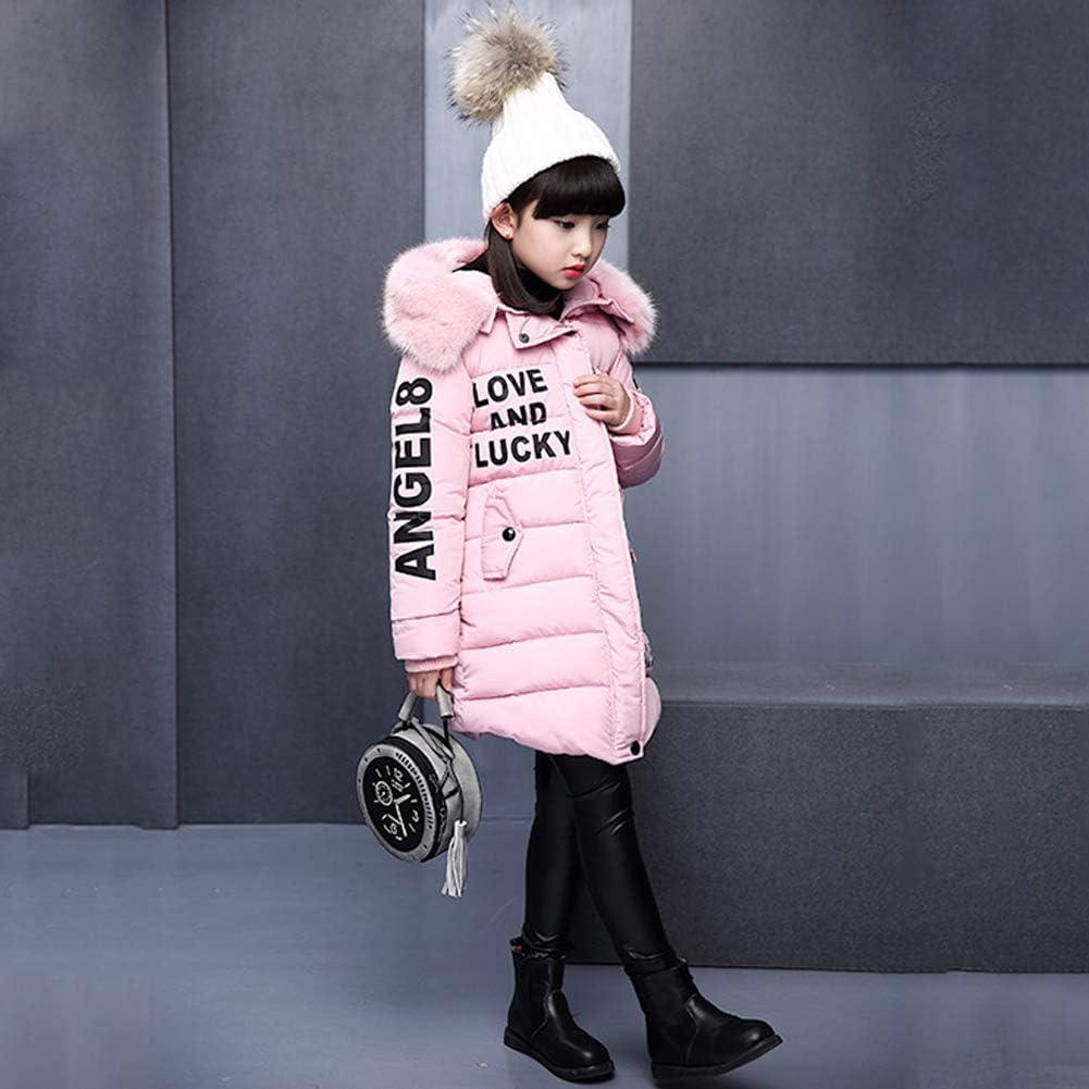 SXSHUN Bambina Cappotto Imbottito Invernlae con Cappuccio di Pelliccia Giacca Calda in Cotone con Stampa di Lettere