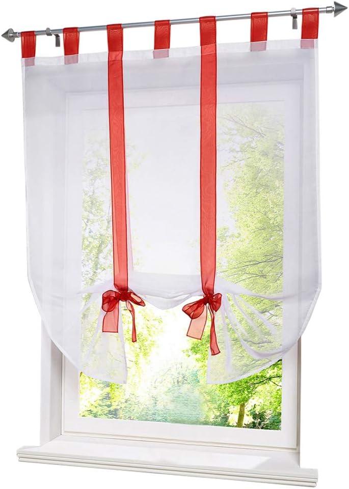 BAILEY JO 1Pc Store Romain Transparent LxH//60x140cm Ruban Sable Rideau Voilage Raffrollo Rideaux /à Pattes D/écoration de Fen/être Chambre//Salle de Bain//Balcon