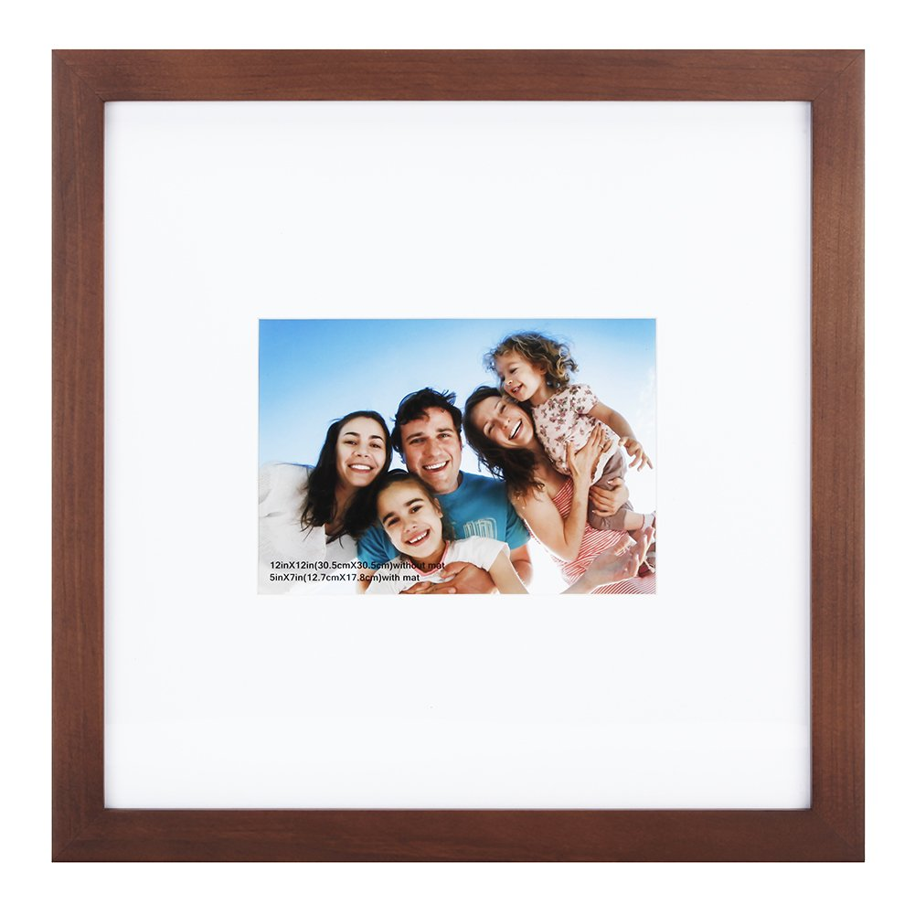 RPJC 12x12 inch Picture Frame Made of Solid Wood and High Definition Glass Display Pictures 5x7 with Mat or 12x12 Without Mat for Wall Mounting Photo Frame Walnut Brown by RPJC