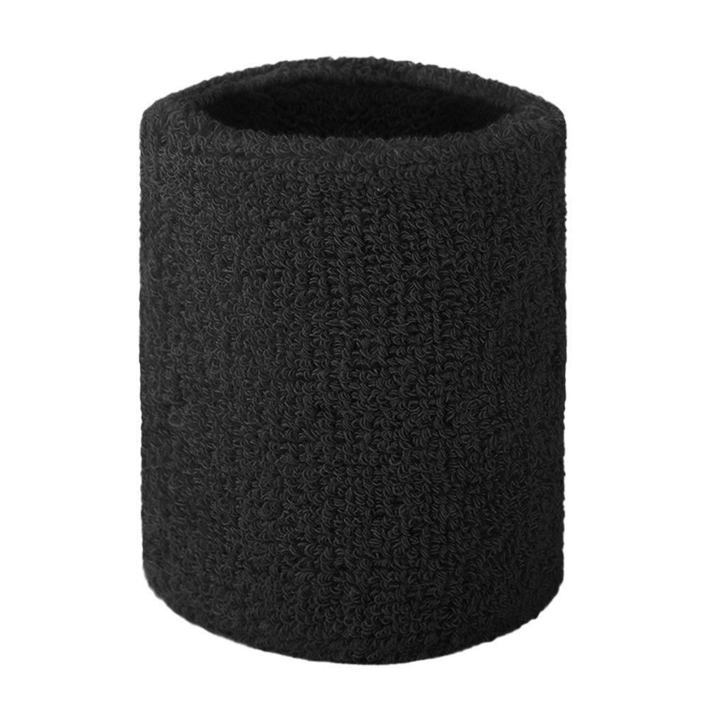 GOGO Terry Cloth Wristband Wrist Sweatband, Black