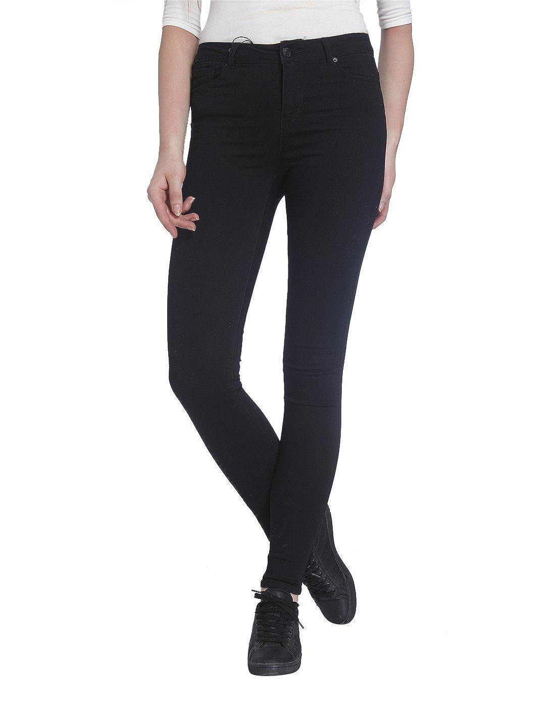 Vero Moda Vmseven NW SS Smooth Jeans Black Noos, Pantalones Vaqueros Delgados para Mujer