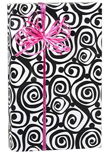 Bohemian Black Swirls on White Gift Wrap Paper 15 Feet Roll