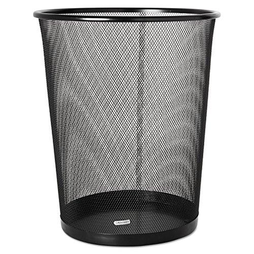 Rolodex Expressions Mesh Metal Wastebasket - Steel - Black -