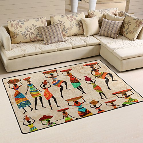LORVIES Retro Beautiful African Women Area Rug Carpet Non-Slip Floor Mat Doormats Living Room Bedroom 60 x 39 inches