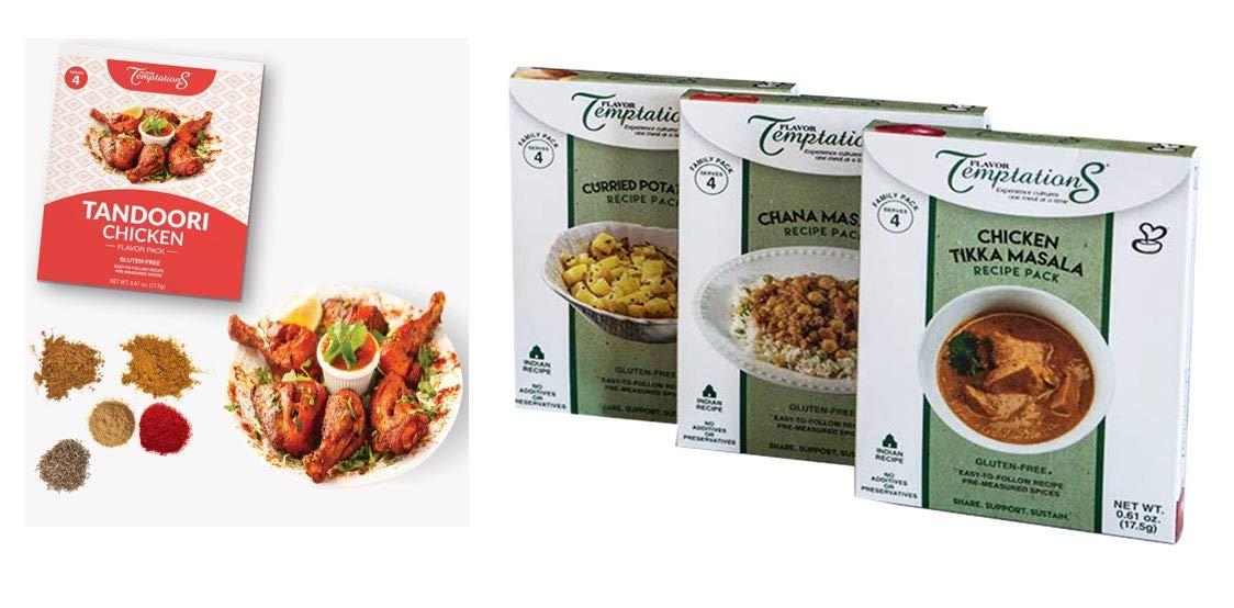 Chicken Tikka, Chana Masala, Tandoori Chicken, Potato Curry Indian Food Spices by Flavor Temptations. Home Cook Variety with Beginner Seasoning Set. Gluten free, Salt free. 4 serving / flavor