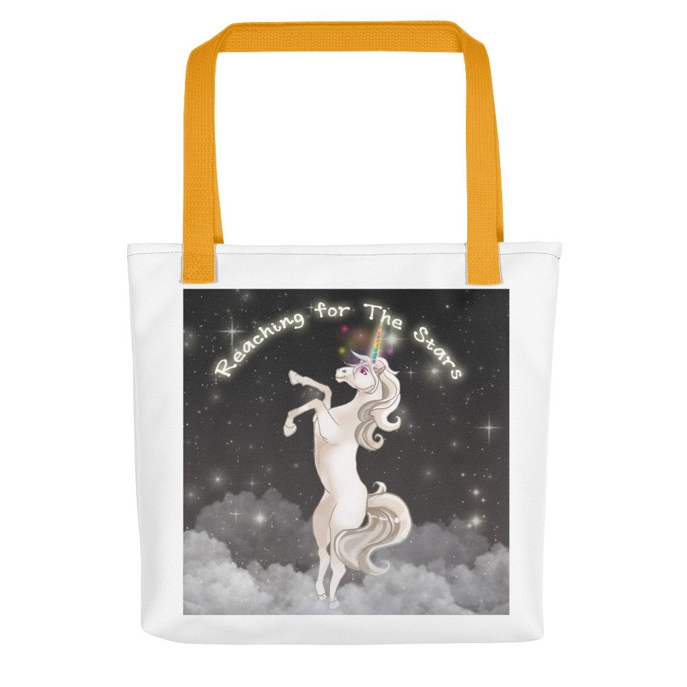 White Unicorn Tote Bag - Yellow Shoulder Straps by DeasThings