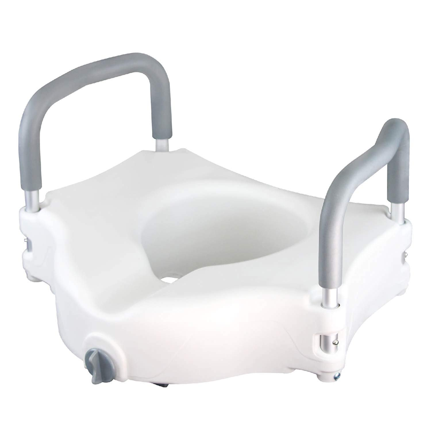 Doremy Medical Elevated Raised Toilet Seat with Arms for Bathroom Safety, White (No Cover)