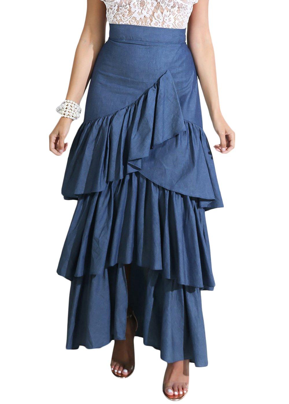 Cosygal Women's Tiered Irregular Ruffles High Waist Maxi Long Denim Skirts Blue Medium
