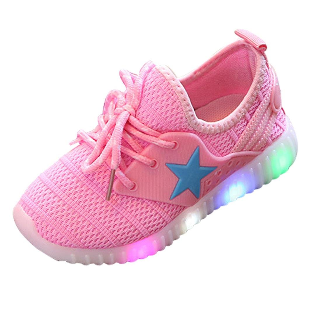 Moonker Baby LED Light Shoes for 1-8 Years Old,Boy Girl Kid Child Mesh Luminous Breathable Running Shoes Casual Sneakers (2-2.5 Years Old, Pink)