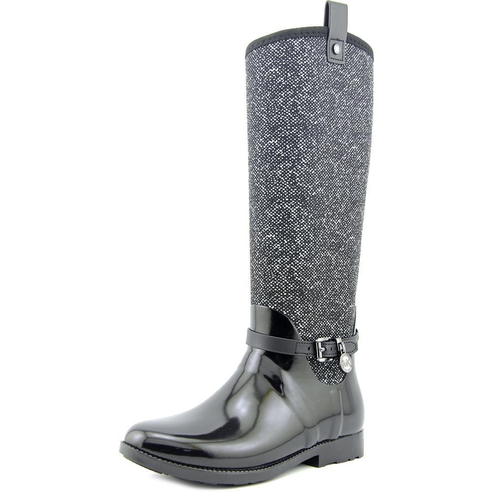 MICHAEL Michael Kors Womens Charm Stretch Rainboot Closed Toe Mid-Calf Rainboots, Black, Size 8 by MICHAEL Michael Kors