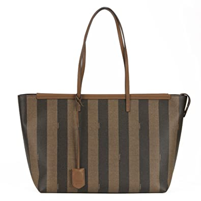 Amazon.com  Fendi Pequin Striped Large Coated Canvas Tote Brown Handbag  New  Shoes cef8980d6b106