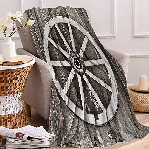 36 Inch Stake Wagon - Barn Wood Wagon Wheel Throw Blanket Retro Wheel on Timber Wall Barn House Village Cart Circle Velvet Plush Throw Blanket 60x36 Inch Dark Brown and White
