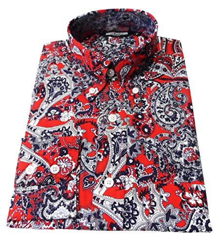 Relco Rouge/bleu marine/motif cachemire rétro en coton à manches longues Motif Bouton chemise