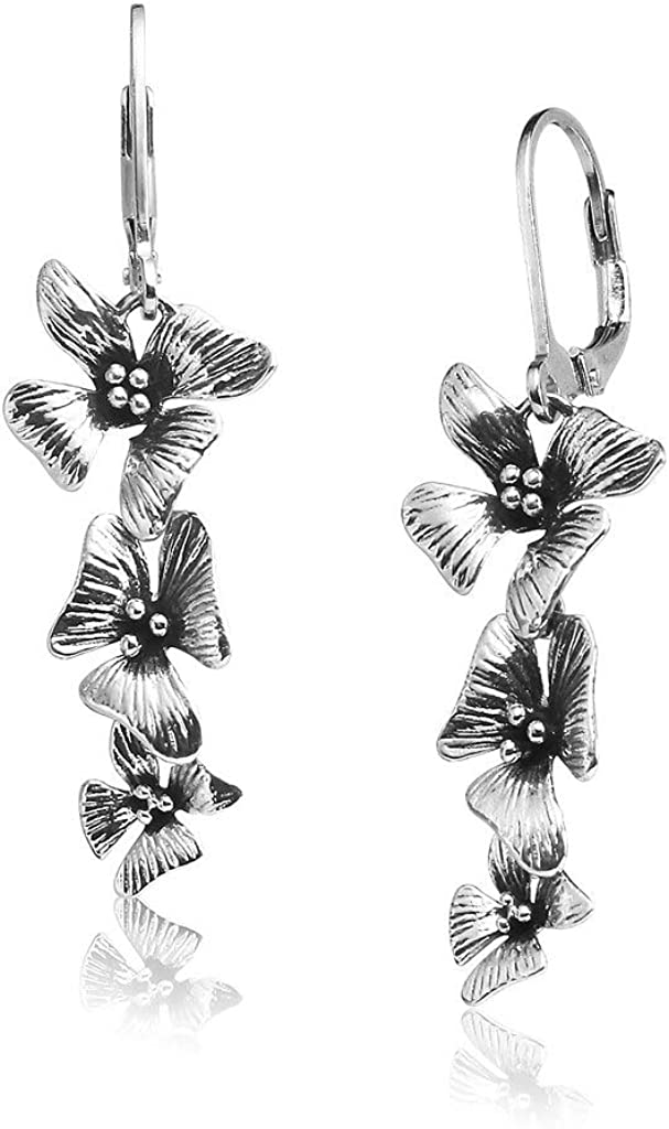 Big Apple Hoops - Orchid Flowers Dangle Earrings Made from Real Solid 925 Sterling Silver Oxidized Finish