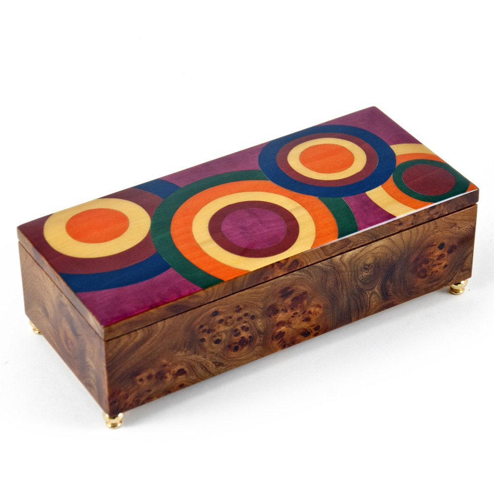 Contemporary Style 36 Note Wood Tone 'Abstract Expressionism'' Sorrento Musical Jewelry Box - Diamonds are a Girls Best Friend