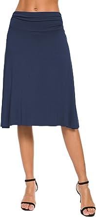 EXCHIC Falda de Yoga para Mujer con Mini Llamarada (M, Azul Marino ...