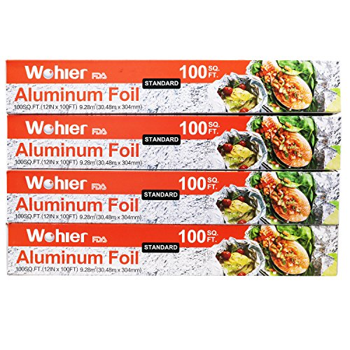 Price comparison product image Wohler Durable Kitchen Aluminum Foil Roll,  100 Sq Ft (Pack of 4)
