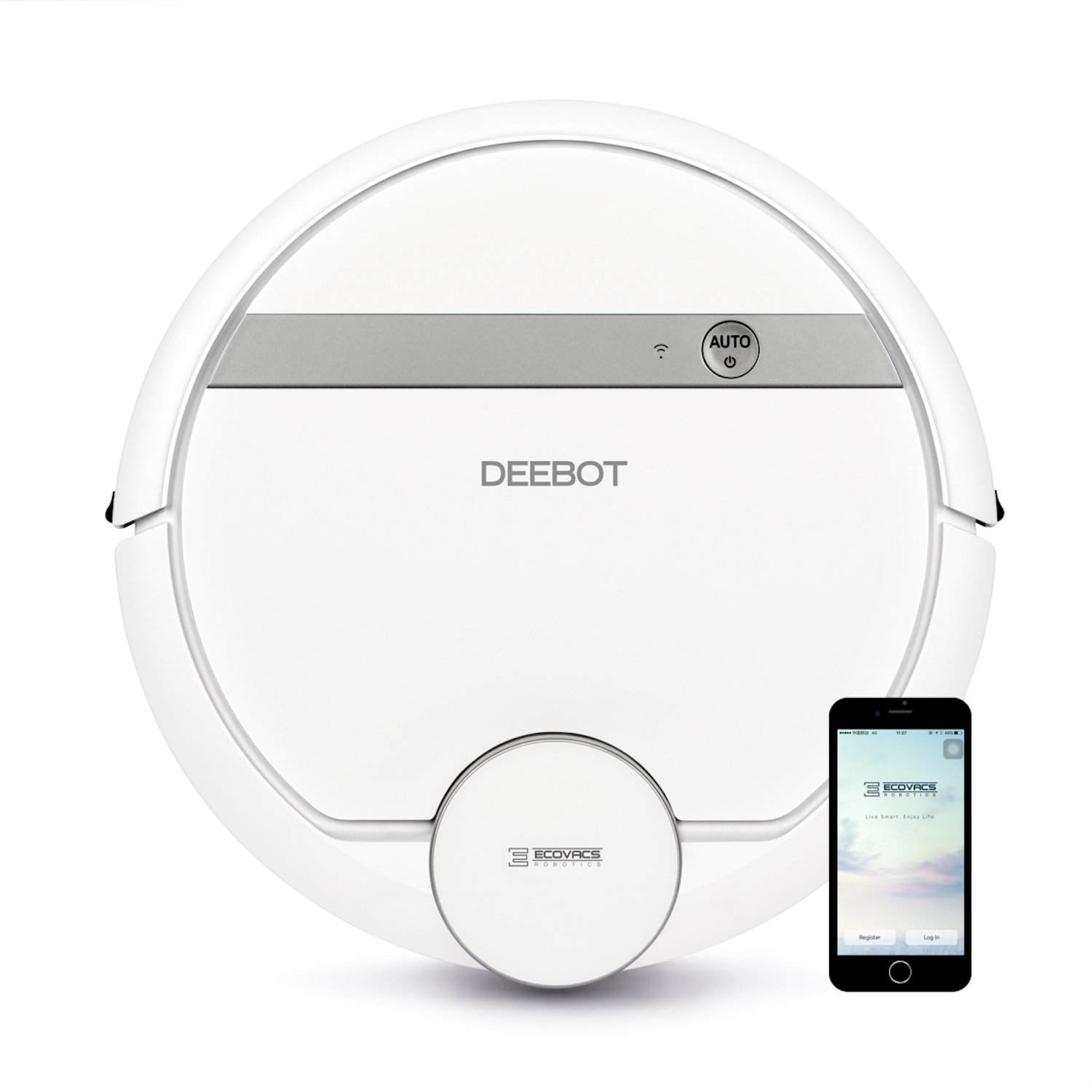ECOVACS DEEBOT 900/901 Smart Robotic Vacuum for Carpet, Bare Floors, Pet Hair, with Mapping Technology, Higher Suction Power, Wifi Connected and Compatible with Alexa and Google Assistant
