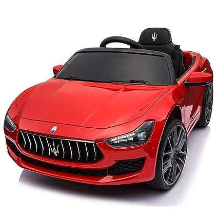 BAKAJI Coche Eléctrica para Niños Máquina Maserati Ghibli Motor 12 V Faros Delanteros LED funzionanti Luces Sonidos Reproductor MP3 Cable AUX Mando Control ...