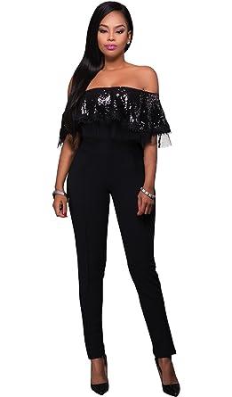 34269745b6b Blansdi Nouvelle Sexy Femmes paillette Rompers Sans manches en dentelle  partie de soirée Combinaisons Jumpsuit Pantalons