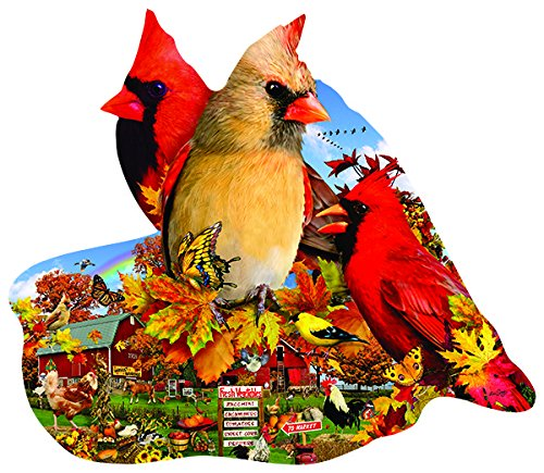 Fall Cardinals Shaped - Bird Shaped Nature Puzzle - 800 Pc Jigsaw Puzzle by SunsOut