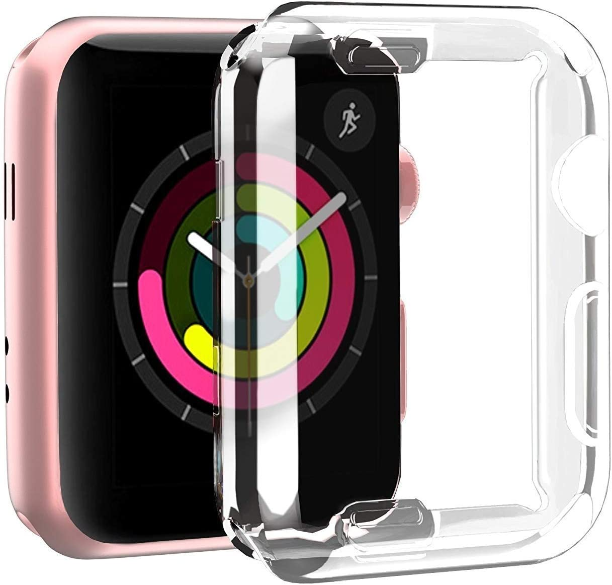 GW Case for Apple Watch Series 3 2 1 38mm with Buit in TPU Clear Screen Protector - All Around Protective Case High Definition Clear Ultra-Thin Cover for Apple iwatch 38mm