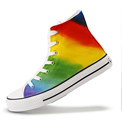 529599e89779 High Top Hand Painted Rainbow Canvas Shoes Lace-up Colorful Adults Young  Casual Flat Shoe