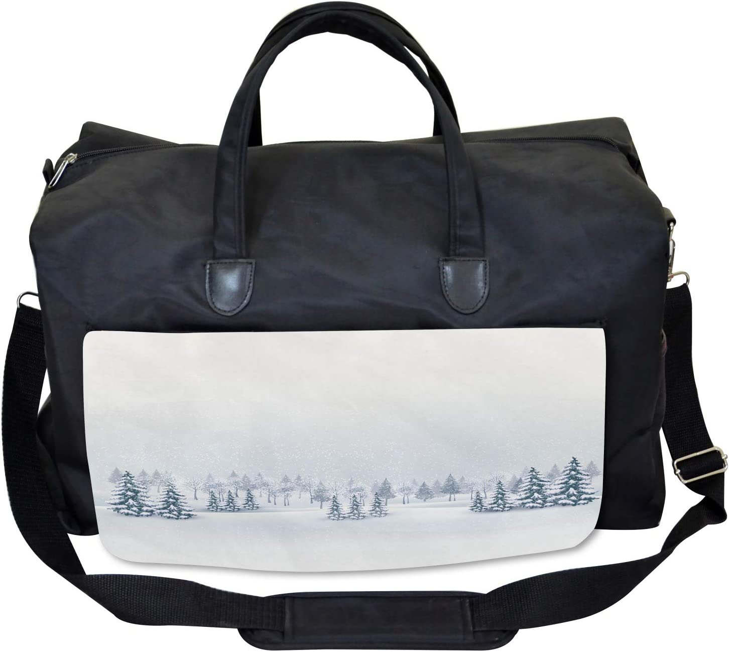 Foggy Weather Trees Large Weekender Carry-on Ambesonne Winter Gym Bag