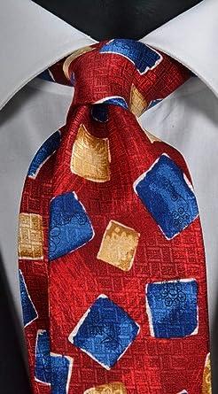 Corbata para hombre, estampado rojo con fantasía, color azul y ...