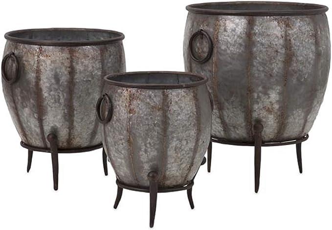 Amazon Com Set Of 3 Zen Garden Galvanized Metal Footed Outdoor Flower Planter Tubs 21 5 Home Kitchen