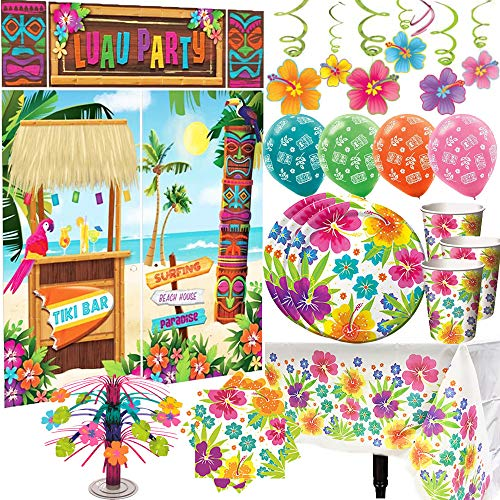 MEGA 177 Piece Luau Party Supplies and Decorations Pack For 50 With Hibiscus Party Plates, Cups, Napkins, Tablecover, Tiki Balloons, Luau Hibiscus Swirls, Mini Table Centerpiece, and Luau Scene Setter