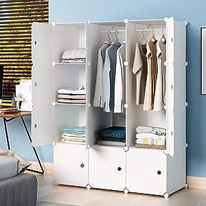"KOUSI Portable Wardrobe Closets 14""x18"" Depth Cube Storage, Bedroom Armoire, Storage Organizer with Doors, 6 Cubes 2 Hangers"