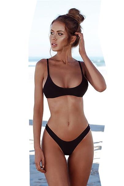 Amazon.com: Womens Solid Color Bikini Set, New Swimwear ...