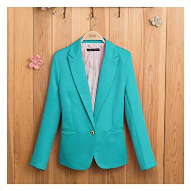 eab1cdf7616 Xuba Candy-Colored Women Suit Long Sleeves Coat Jacket Blazer Lined with  Striped Single Button Blazers Jacket: Amazon.in: Clothing & Accessories