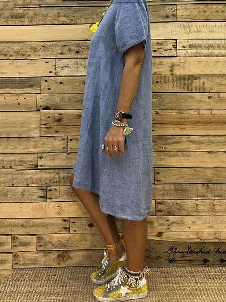 Onsoyours Femme Robe Chic Robe /Ét/é Robe de Plage Col V Casual Grande Taille Robe Manches Courte Unie T-Shirt Coton Lin Robes Boh/ême Midi Dress