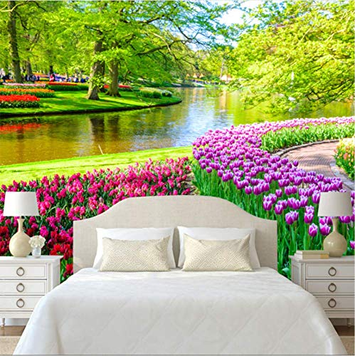 - ATR 3D Large Wall Picture Fresh Natural Landscape Tulip Wall Cloth Fresco Living Room Tv Sofa Background Wall Home Decor Wallpaper 3D, 140X100Cm