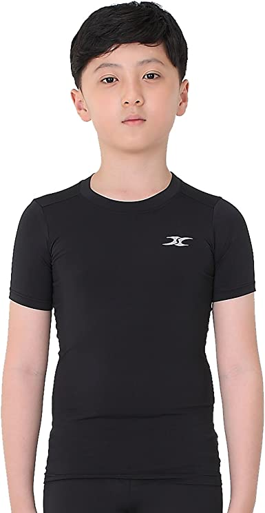 LANBAOSI Kids Boys Compression Shirts Childs Quick Dry Sports Undershirts Short Sleeve Base Layer Tee Tops