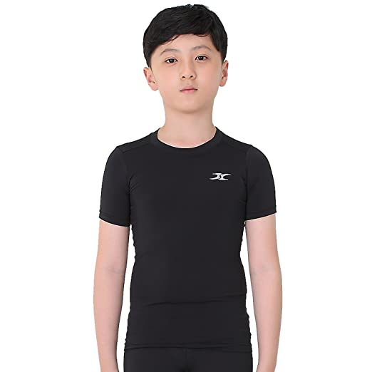 5c9a4a4d2361c Kids Compression Shirt Underwear Boys Youth Under Base Layer Short Sleeve  Top SK BK S