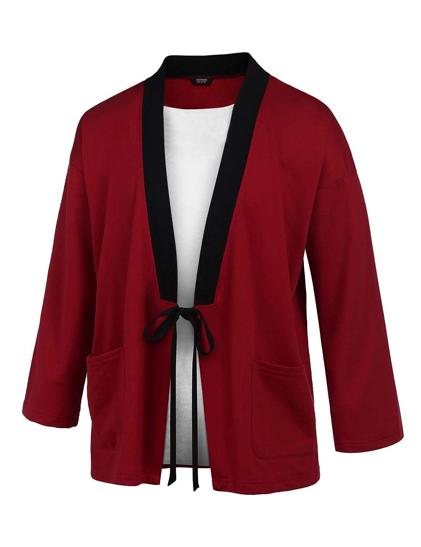 COOFANDY Men's Lightweight Kimono Cardigan Jackets Hip Hop Premium Cotton Blend Coat Outwear Open Front Cloak Cape ZSJ007552