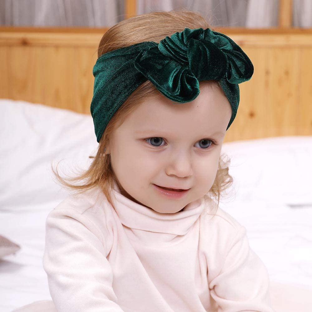 Deylaying Bows Headbands for Cute Toddlers Girls Gold Velvet Infants Big Bow Headwrap Solid Color kids Caps