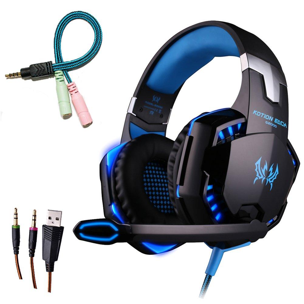 Auriculares Gaming, YZCX G2000 USB 3.5mm Esté reo Gaming Auriculares para Juegos Iluminació n LED/Micró fono / Cancelació n de Ruido/Control del Volumen para PC Tablet Laptop YZCX13522