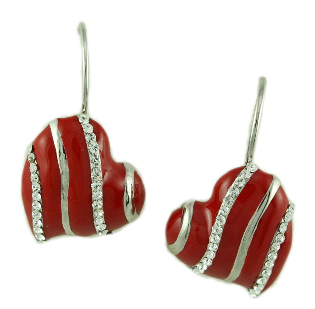 Red Enamel with Silver and Crystal Stripes Heart Pierced Earring