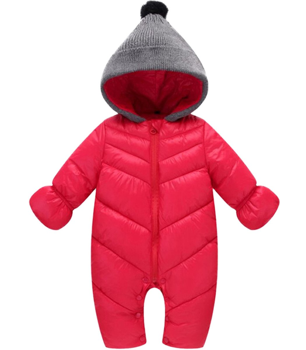 Baby Girls Boys One Piece Front Zippers Button Winter Down Jacket Romper Jumpsuit