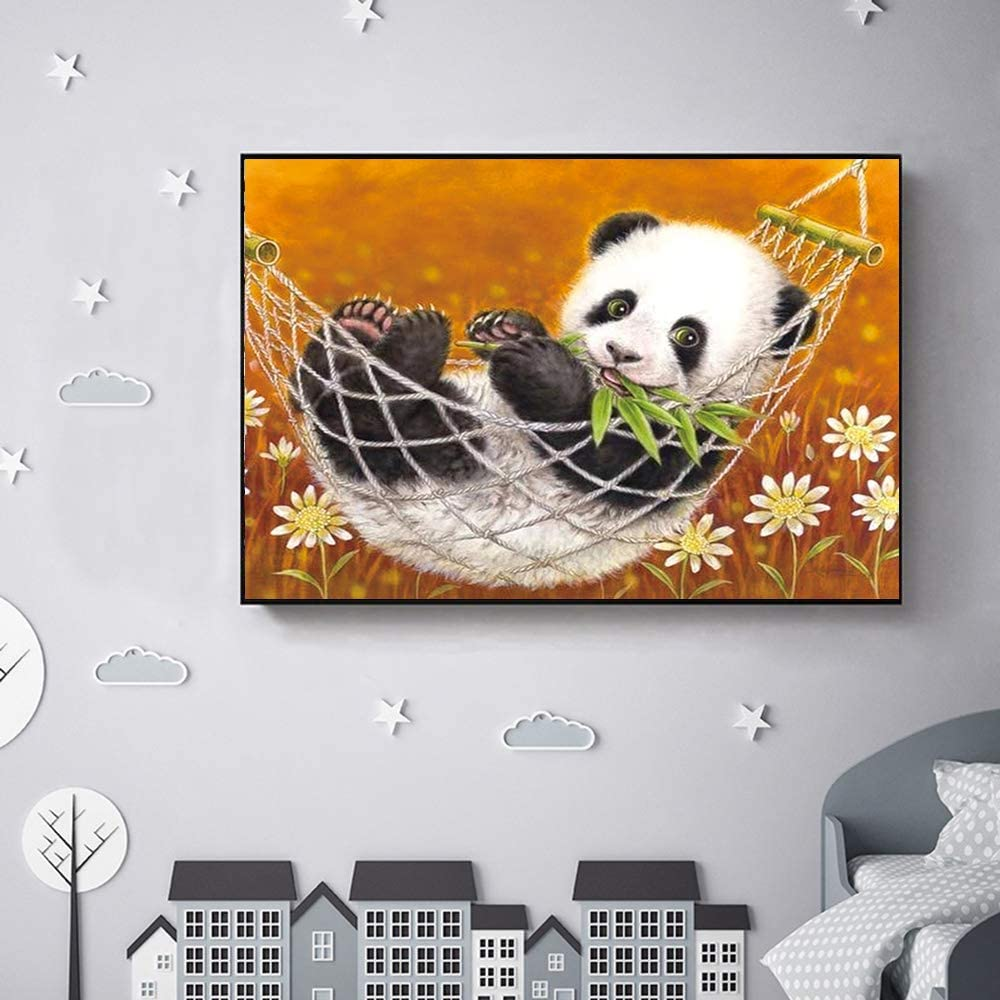 SODLAWN DIY 5D Diamond Painting Kit Full Round Drill Crystal Rhinestone Embroidery Cross Stitch Arts Craft Canvas Supply Art Kit for Adults and Kids Christmas New Year Gift 12X16 inchs Baby Panda