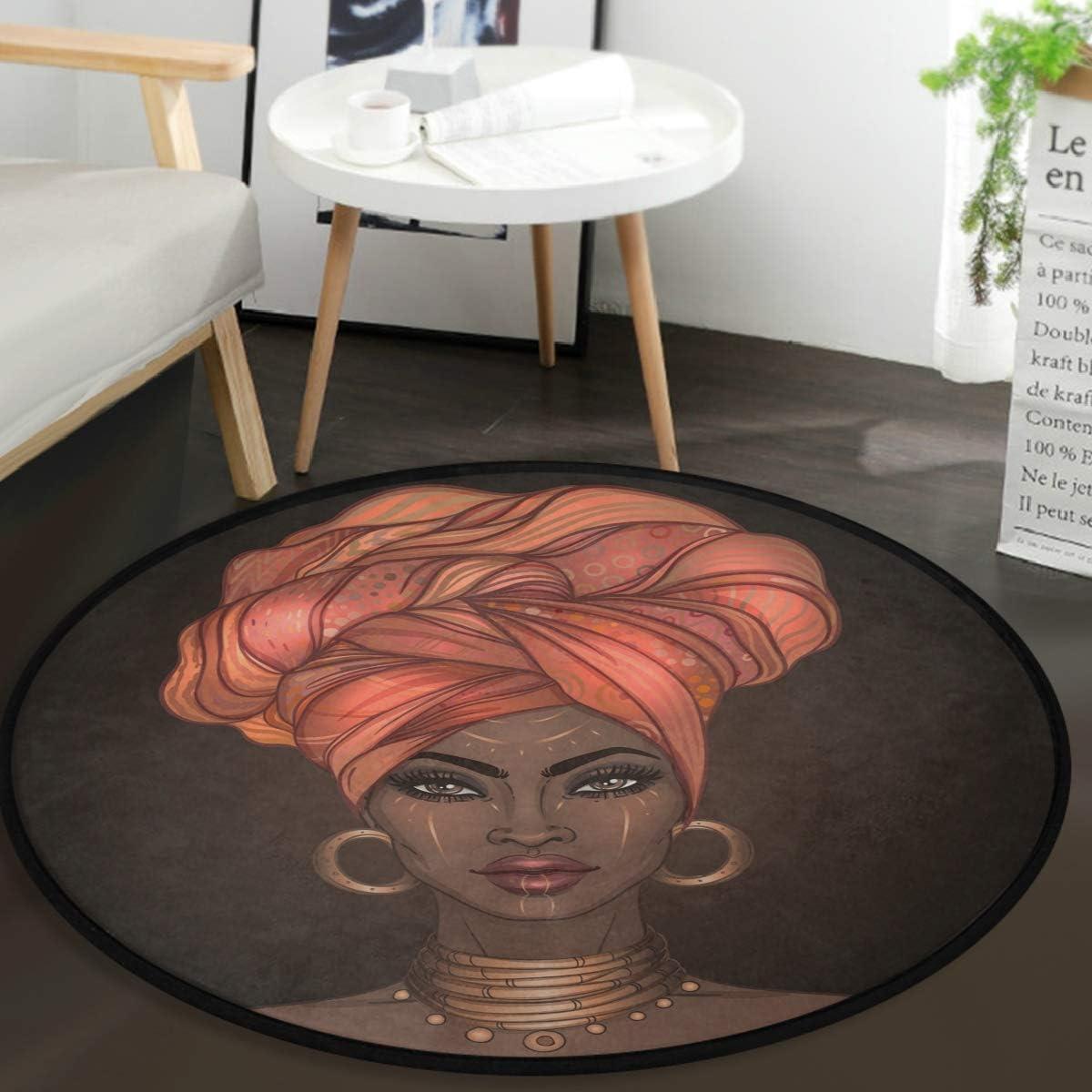 Vdsrup Vintage African Girl Doormat Beautiful African Women Round Floor Mat Non Slip Carpet Yoga Mat Rugs for Entryway Bedroom Living Room Home Decor 3'