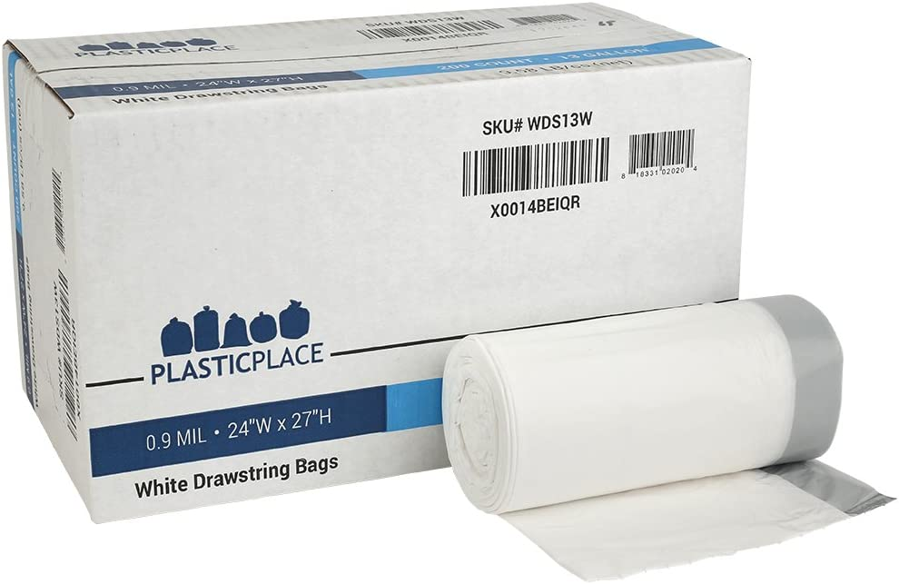 "Plasticplace 13 Gallon Trash Bags │ 0.9 Mil │ White Tall Garbage Can Liners │ 24"" x 27"" (200 Count)"
