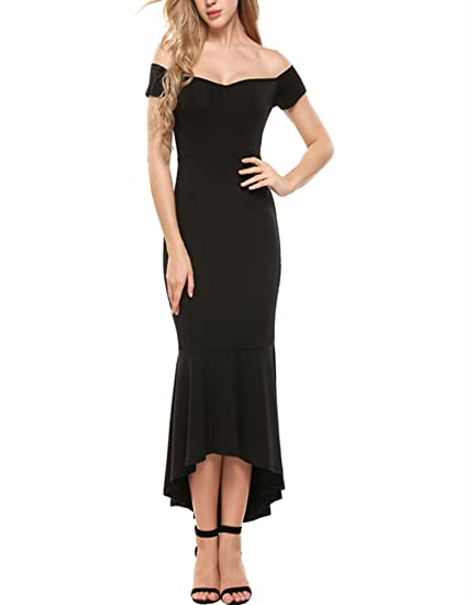 ANGVNS Women s Short Sleeve Off Shoulder Slim Fitted Bodycon Pencil Long  Dress(Black ... fca8bc48d03b