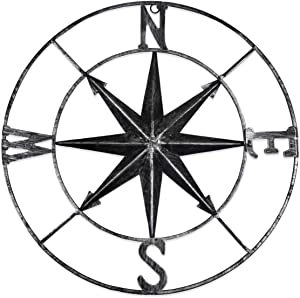 "YiYa 11.8"" Distressed Metal Compass Mural Decoration Nautical Decoration Bedroom Living Room Garden Office Wall Hanging Beach Theme Home Decoration (Black)"